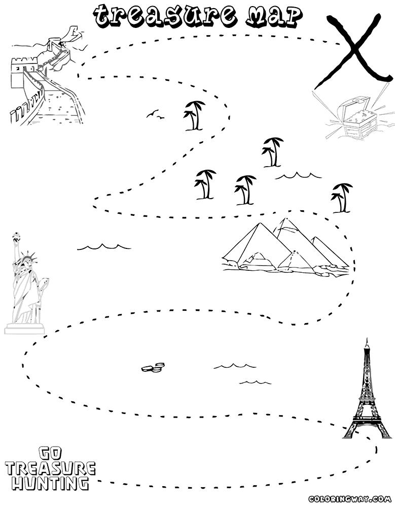 28 treasure map coloring pages pictures free coloring for Treasure hunt coloring pages