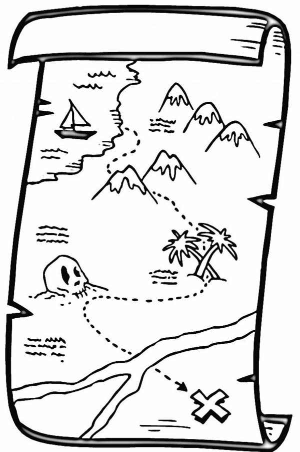 treasure map coloring pages - pirate treasure map coloring pages