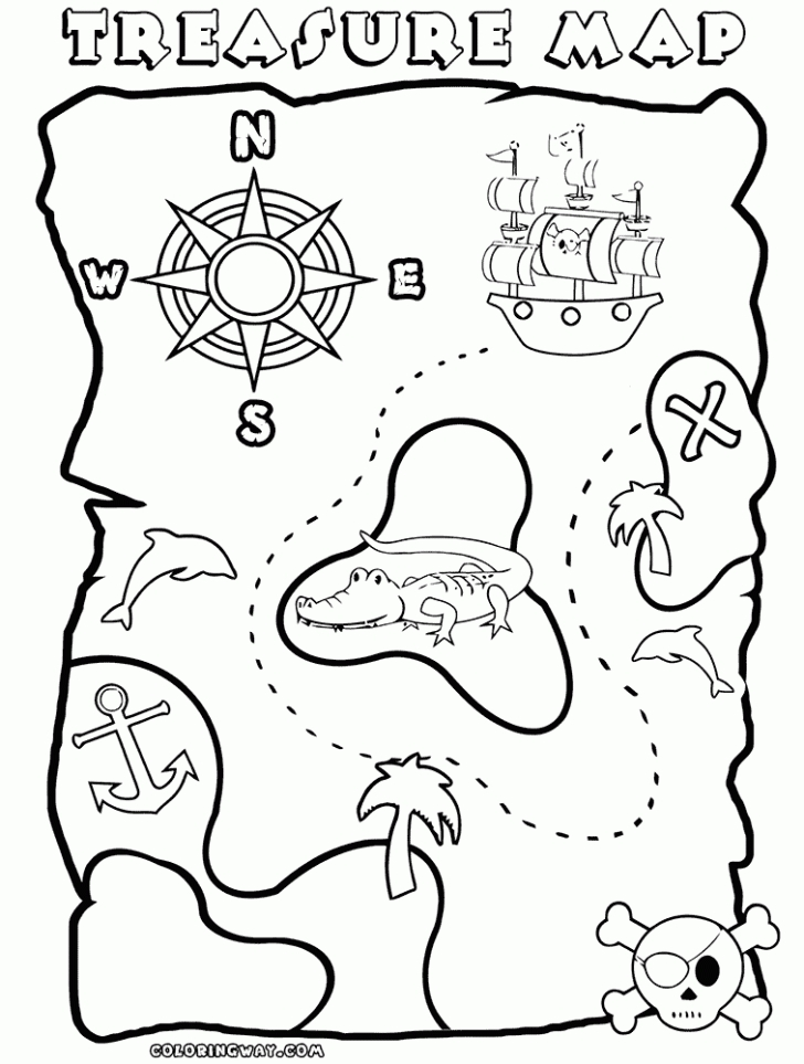 Treasure Map Coloring Pages - Pirate Treasure Map Coloring Pages Coloring Home