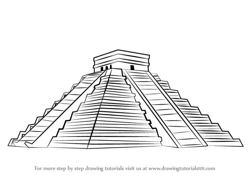 triangle coloring page - how to draw el castillo chichen itza