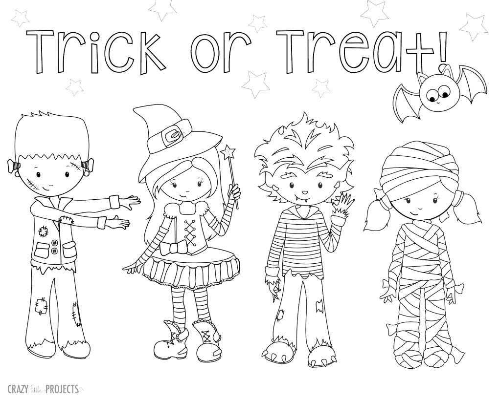 trick or treat coloring pages - free printable halloween coloring pages
