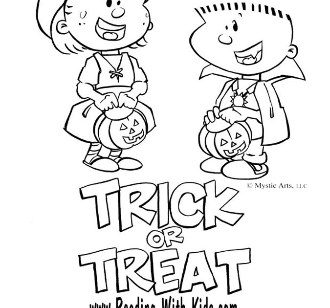 trick or treat coloring pages - trick or treat coloring pages
