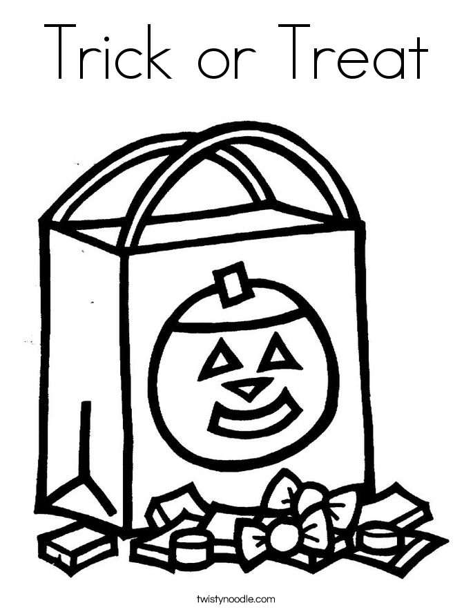 trick or treat coloring pages - trick or treat 2 coloring page