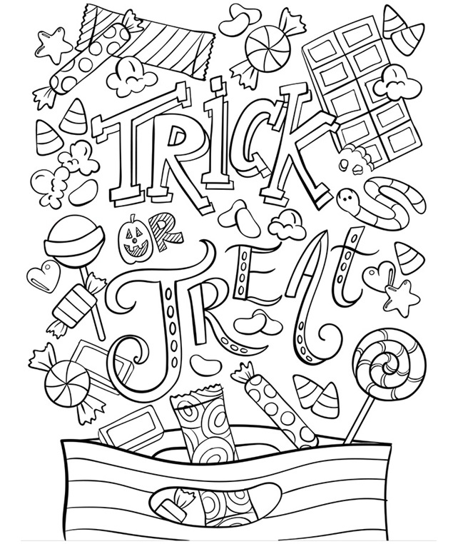 trick or treat coloring pages - trick or treat coloring page