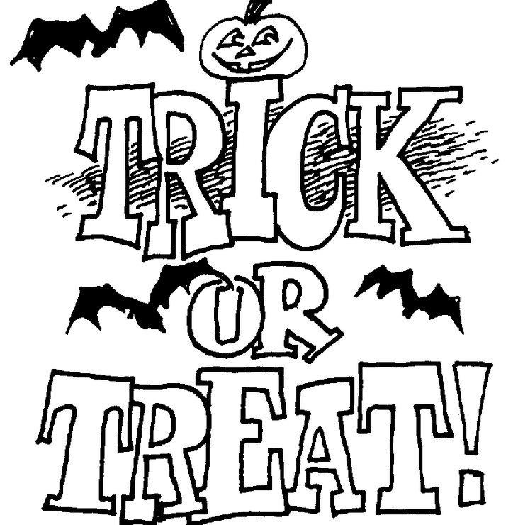 trick or treat coloring pages - trick or treat preschool coloring sketch templates