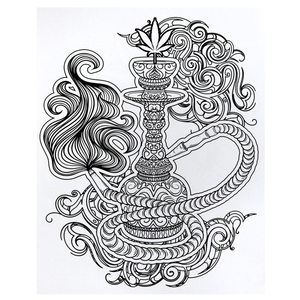 trippy coloring pages - cannabis coloring