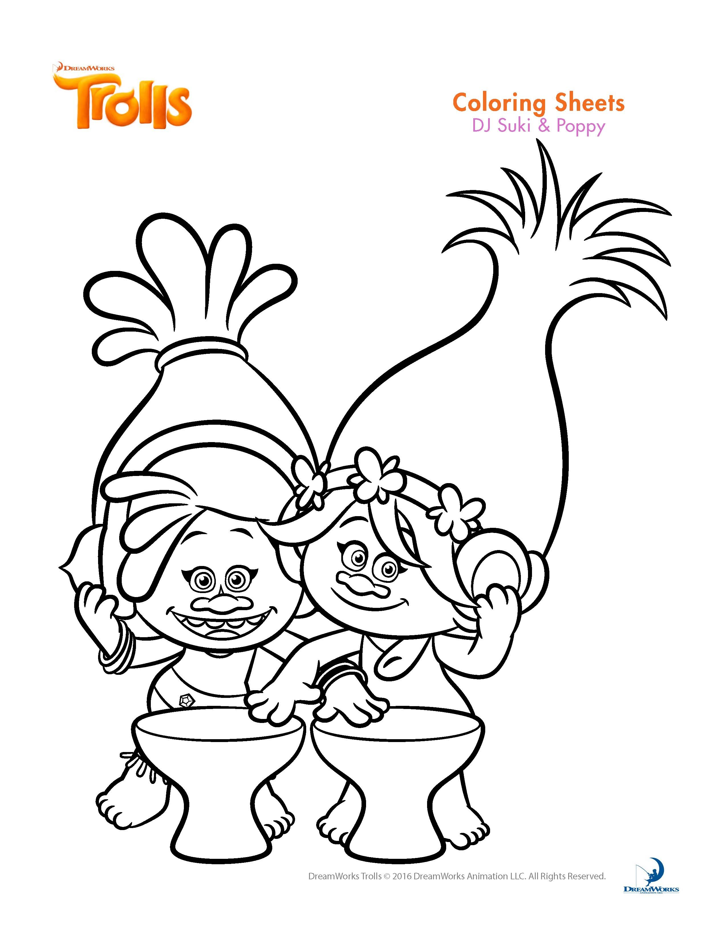 trolls coloring pages - trolls dreamworks coloring sheet sketch templates