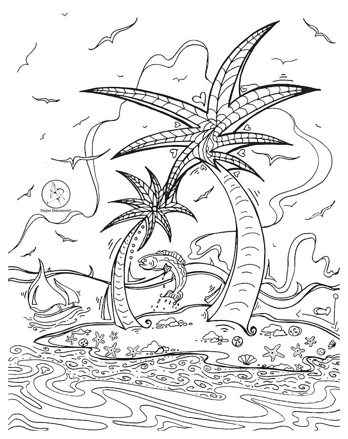 tropical coloring pages - coloring page with beautiful tropical island drawing by megan duncanson megan duncanson