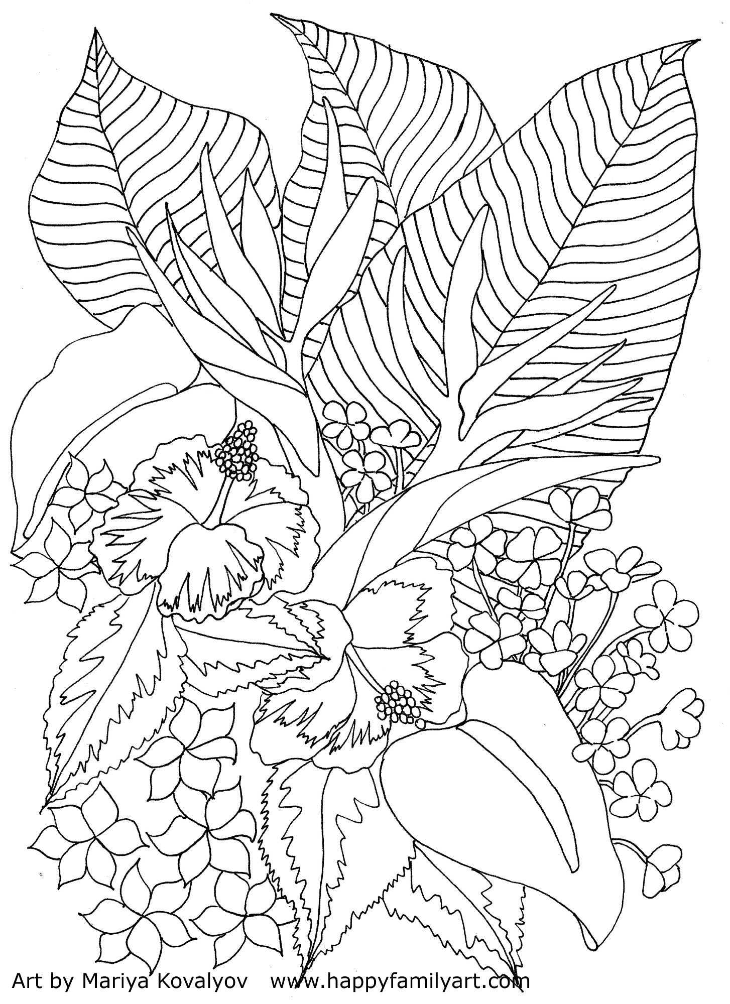 Tropical Coloring Pages - Happy Family Art original and Fun Coloring Pages