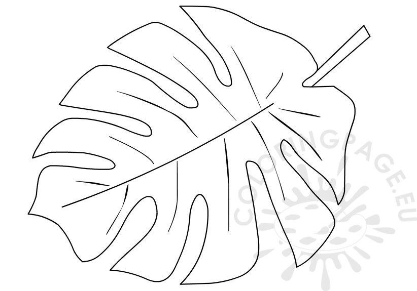 tropical coloring pages - printable tropical leaf shape