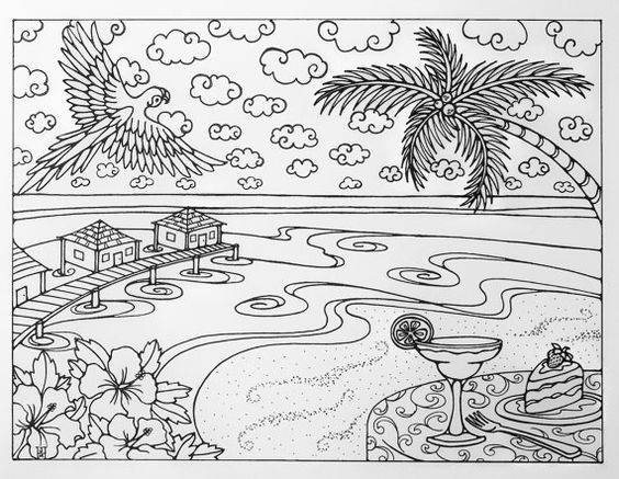 tropical coloring pages -
