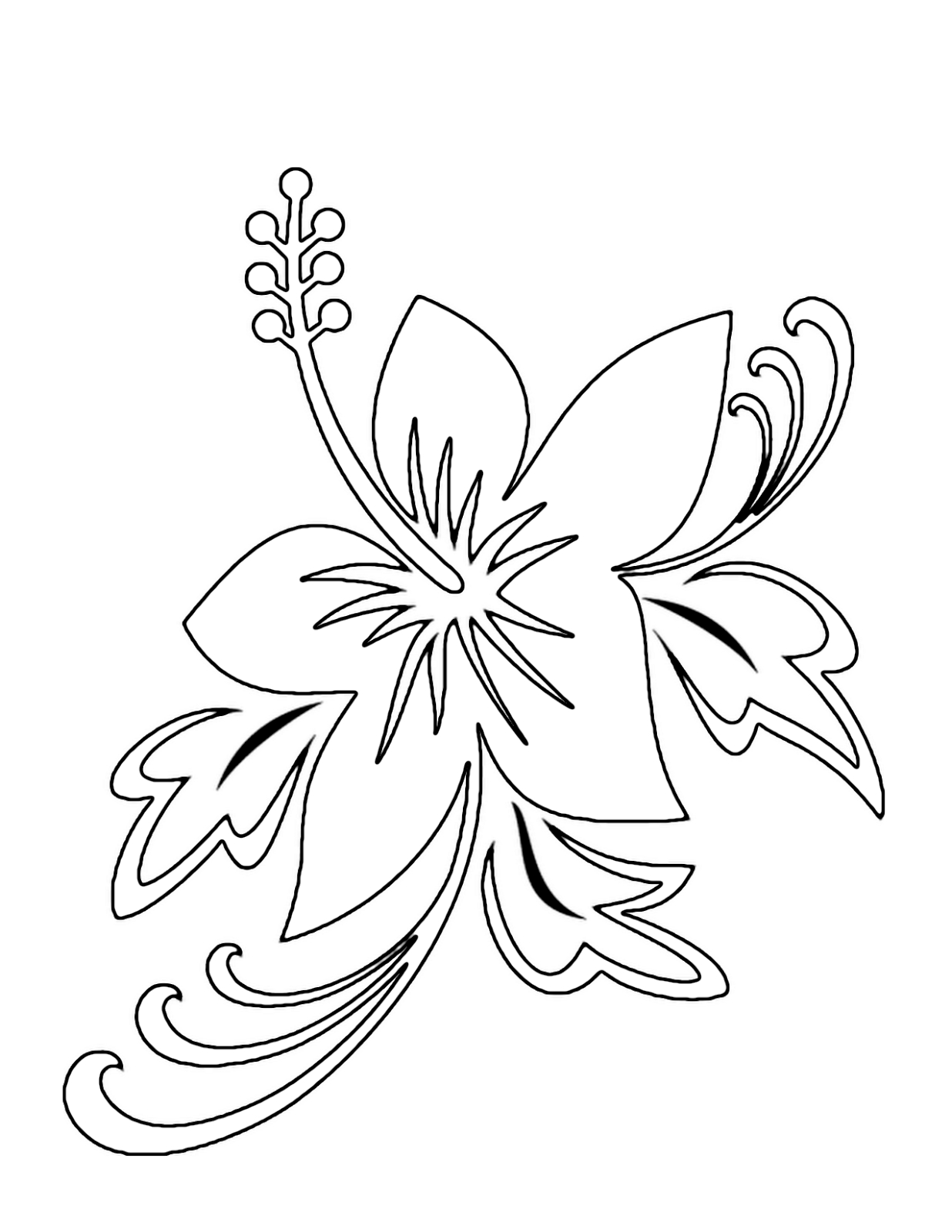 tropical coloring pages - tropical flower coloring pages
