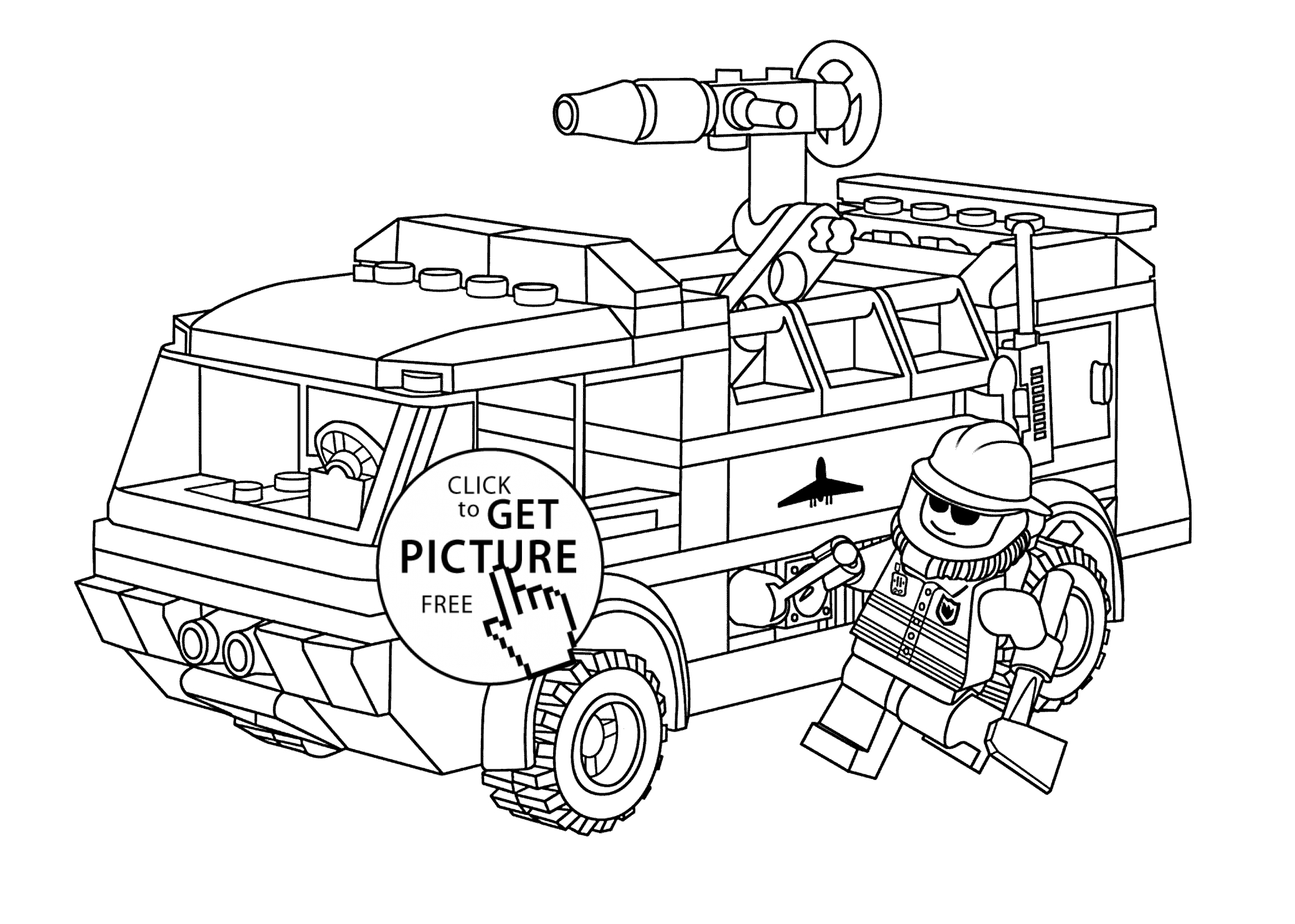 truck coloring pages - fireman coloring pages lego firetruck with fireman coloring page for kids printable free free coloring book