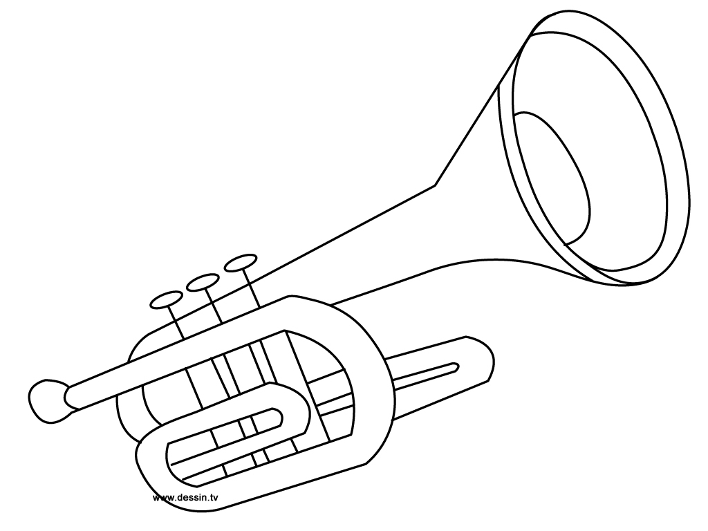 trumpet coloring page - coloring trumpet