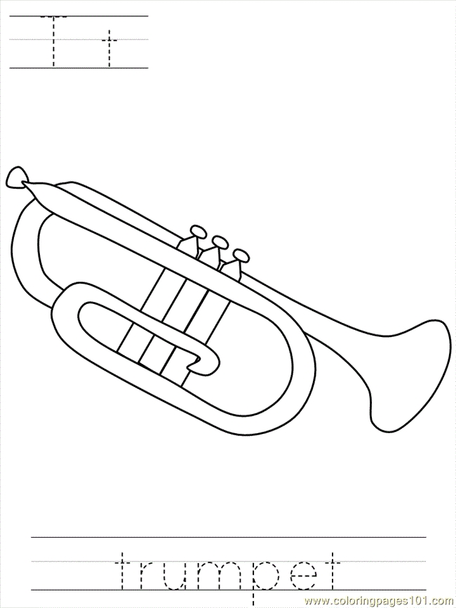 trumpet coloring page - q=play the trumpet