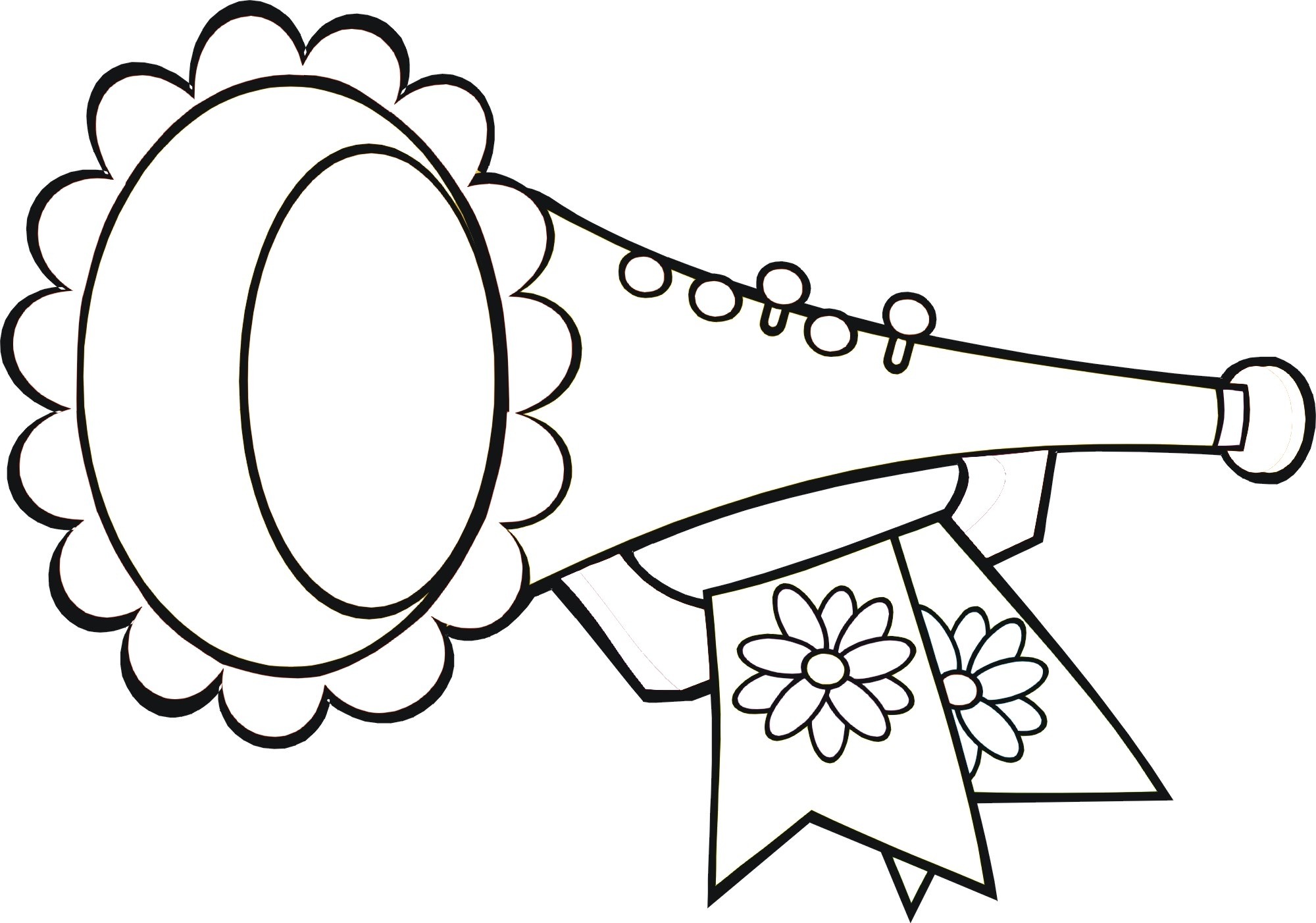 trumpet coloring page - simple trumpet sketch templates