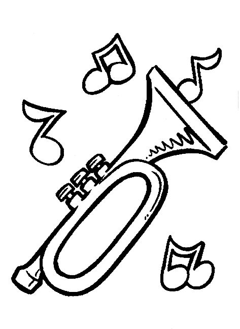 trumpet coloring page -