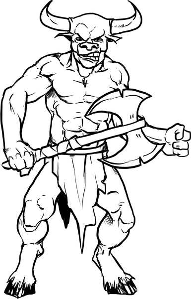 turkey coloring pages for adults - minotaur cartoon kids