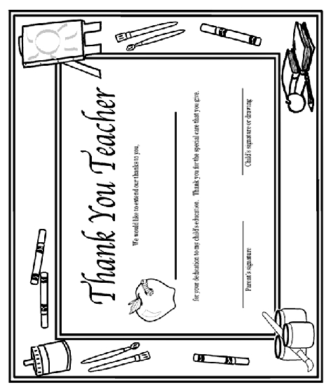turn photo into coloring page - thank you teacher certificate coloring page