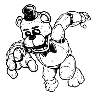 turn picture into coloring page - how to draw freddy fazbear five nights at freddys