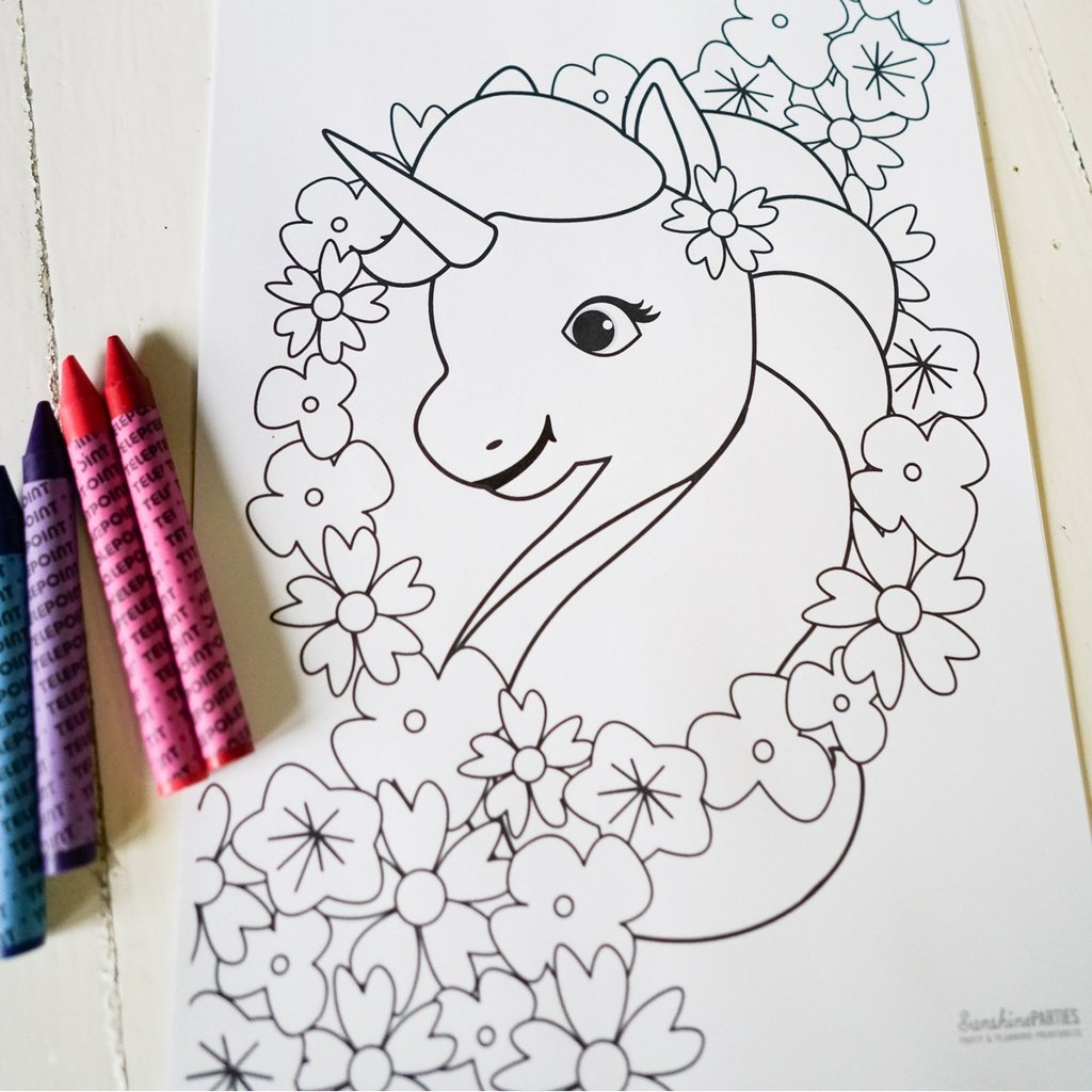 turn pictures into coloring pages for free - magical unicorn birthday party ideas