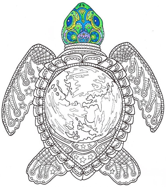 turtle coloring pages for adults - adult coloring page world turtle