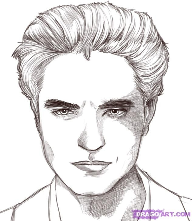 twilight coloring pages - edward cullen robert pattinson twilight