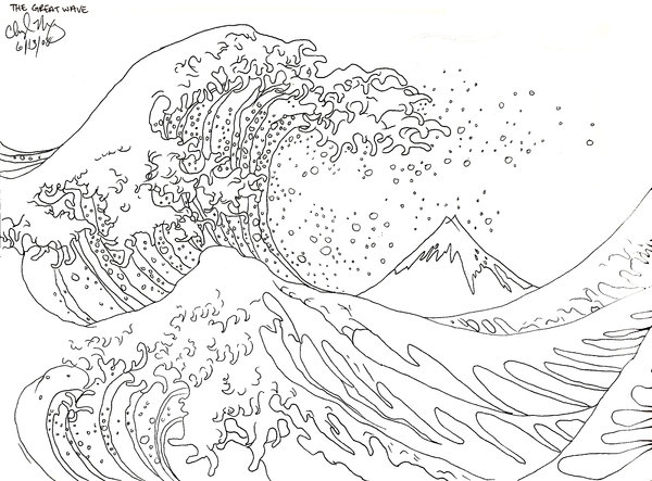 under the sea coloring pages - The Great Wave off Kanagawa