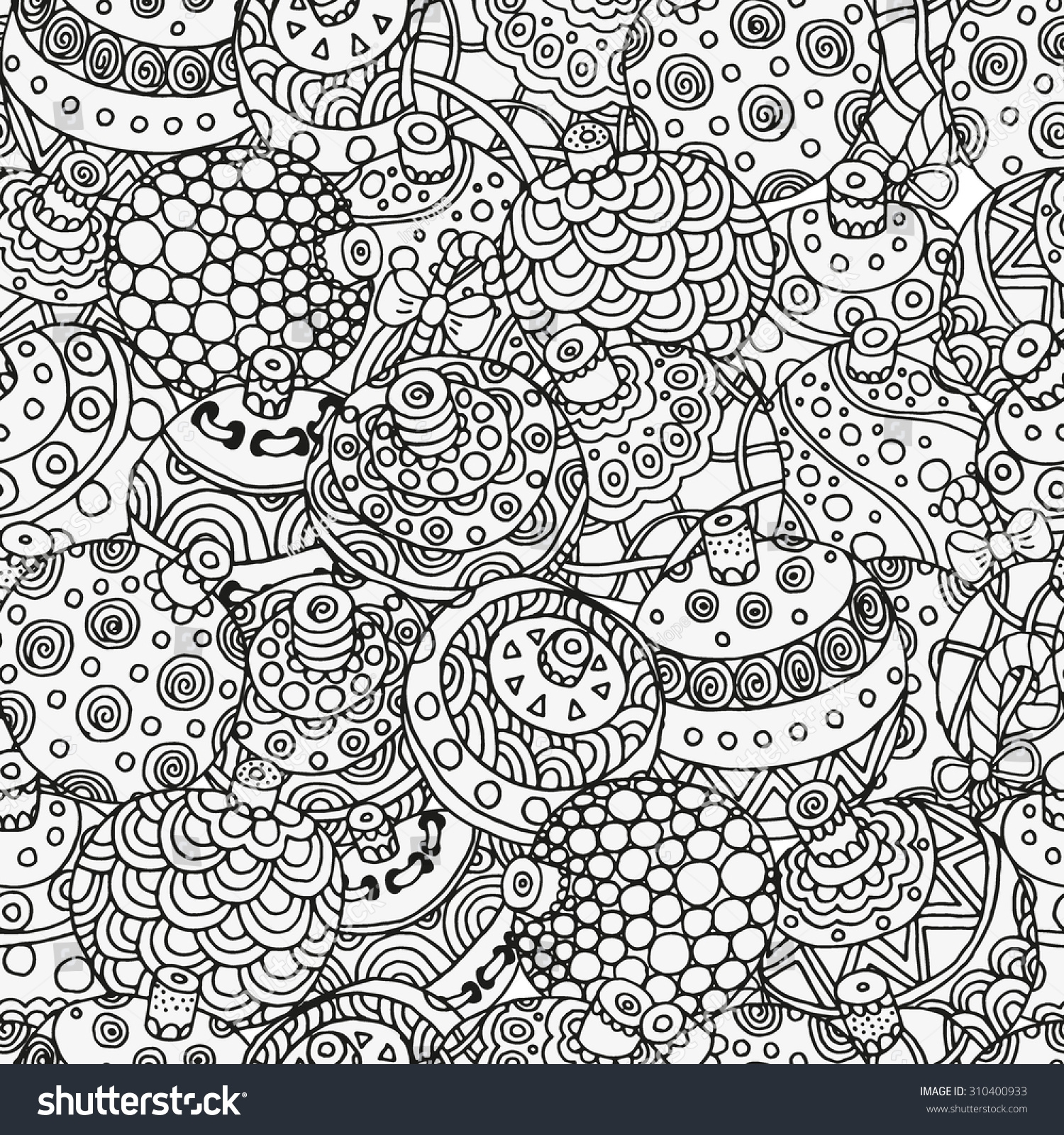 unicorn coloring pages for adults - stock vector seamless christmas hand drawn decorative elements in vector fancy christmas balls pattern for