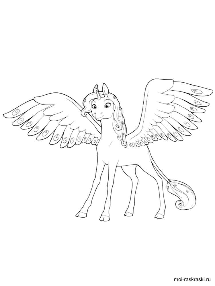 unicorn coloring pages - raskraski miya i ya