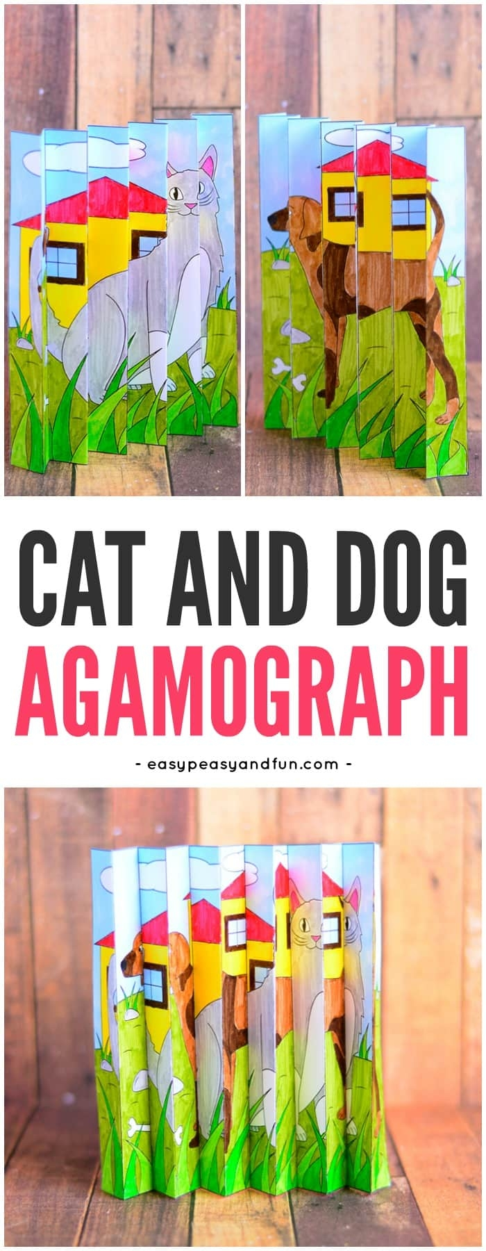 unique coloring pages - cat and dog agamograph template