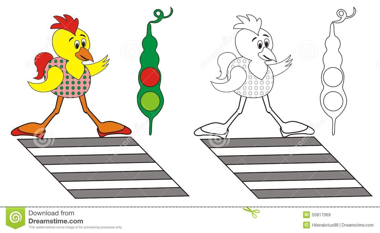 united states coloring page - stock illustration chick children coloring pages funny pedestrian crossing waiting green traffic light image