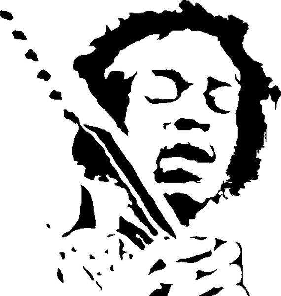 united states coloring page - jimmy hendrix decal silhouette wall