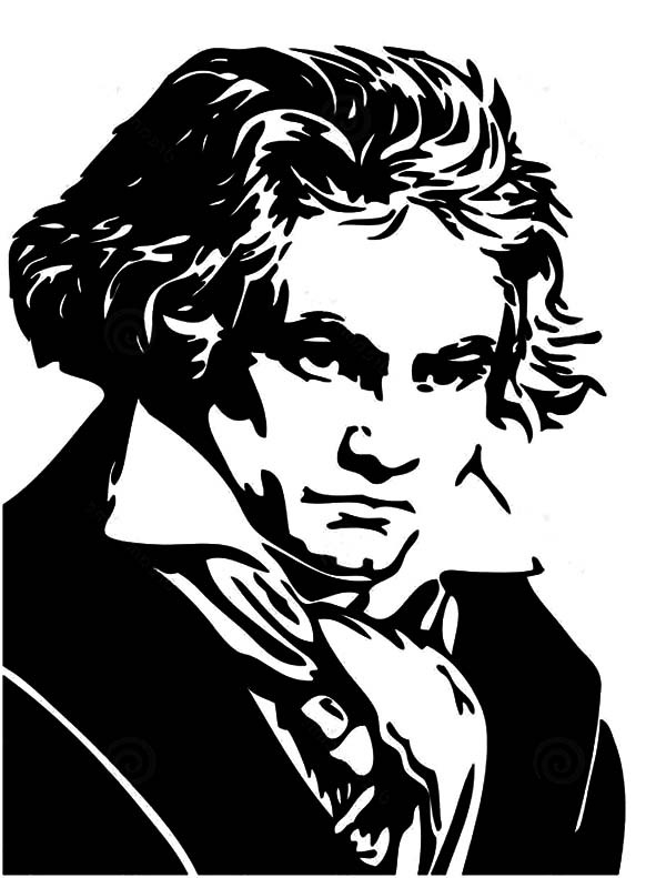 us map coloring page - portrait of ludwig van beethoven coloring pages