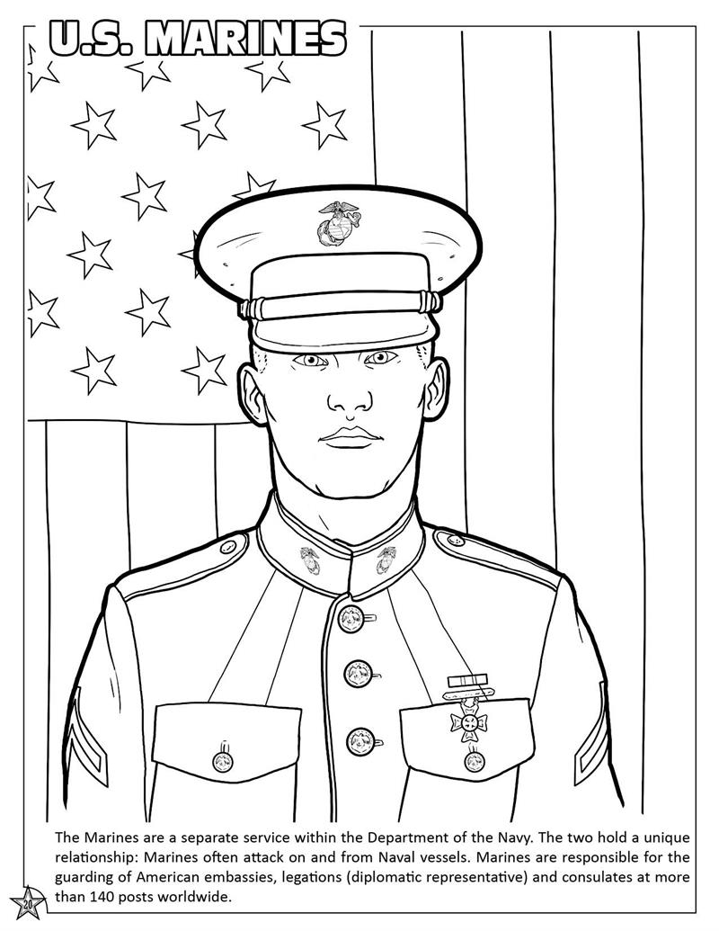 usa flag coloring page - military coloring book