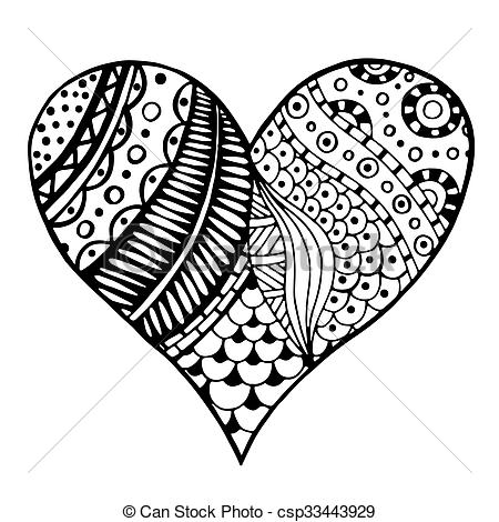 valentine coloring pages for adults - corazones zentangle estilo