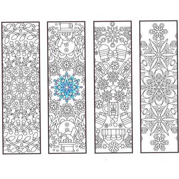 valentine coloring pages to print - winter mandala bookmarks