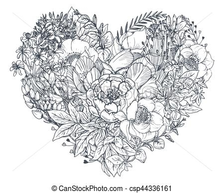 valentine heart coloring pages - blumen heart blumengebinde hand