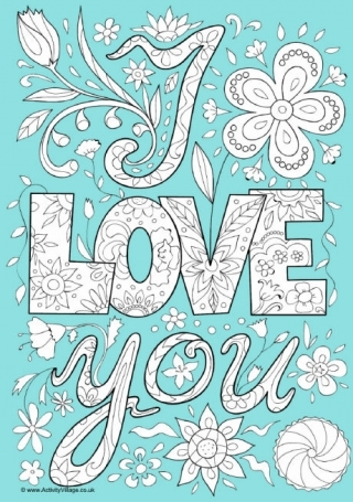valentines day coloring pages for adults - i love you doodle colouring page