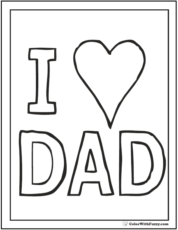 valentines day coloring pages printable - fathers day coloring card