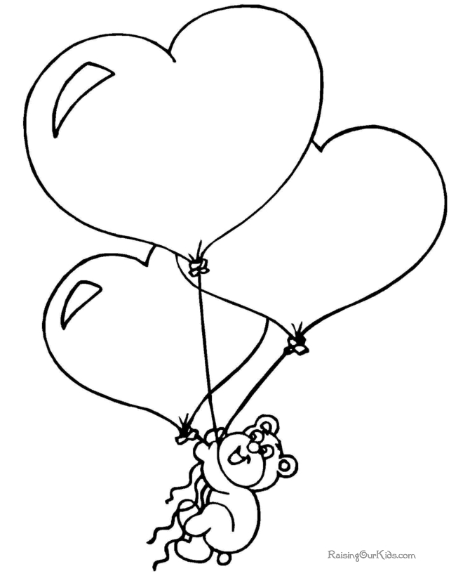 valentines day coloring pages printable - 008 printable valentine bear