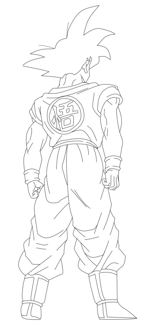 vegeta coloring pages - Goku de Espalda Lineart By JP7