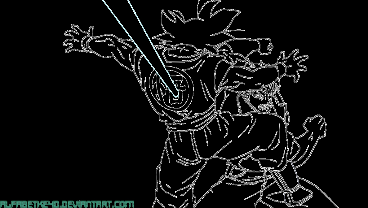 vegeta coloring pages - Lineart goku vs toriko