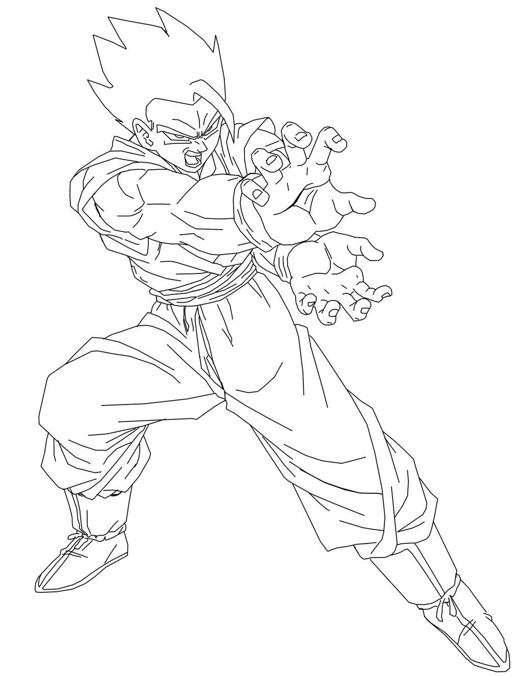 vegeta coloring pages - Mystic Gohan line art