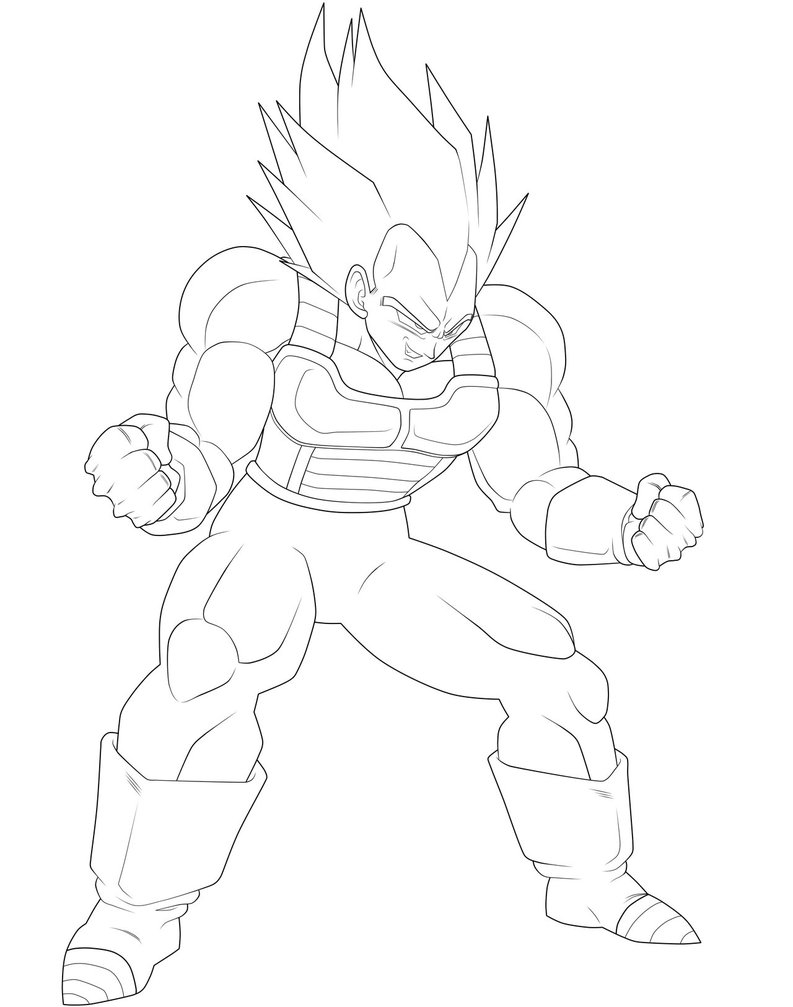 vegeta coloring pages - Super Ve a Lineart