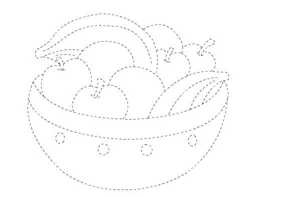 vegetable coloring pages - fruit basket trace
