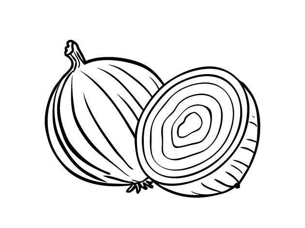 vegetable coloring pages - cebola cortada