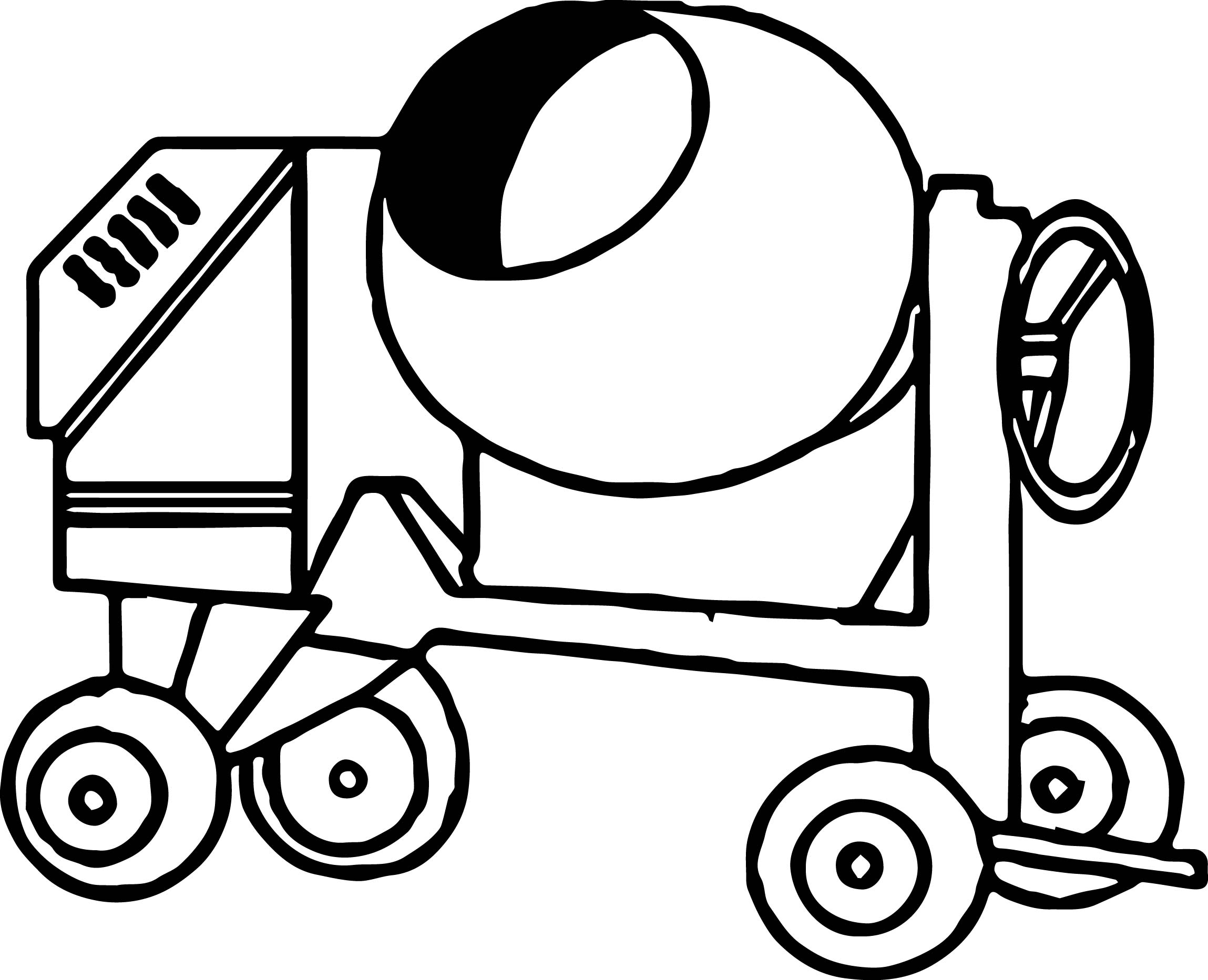 vehicle coloring pages - cement truck vehicle coloring page