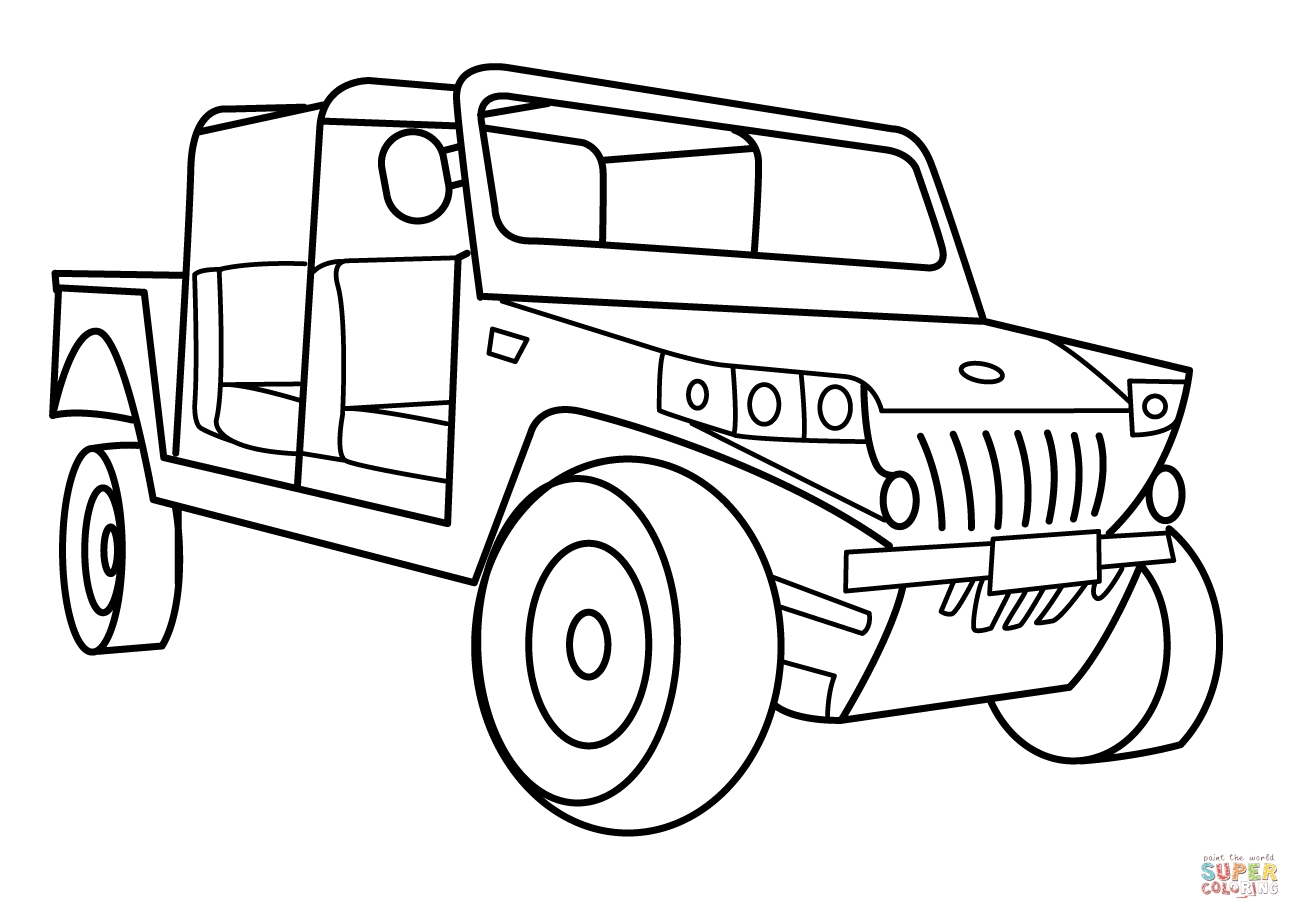 vehicle coloring pages - military light utility vehicle