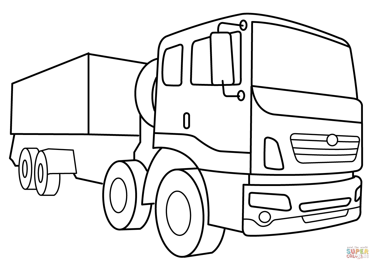 vehicle coloring pages - military supply vehicle